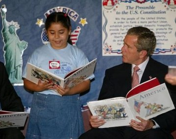 George Bush with Rightside Up Book