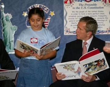 George Bush with Upside Down Book