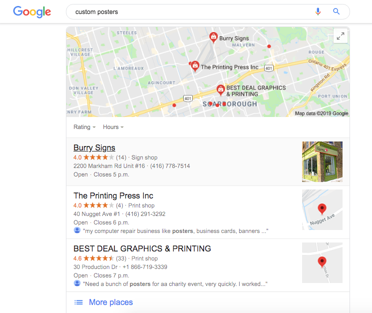 Google My Business screen cap for custom posters search