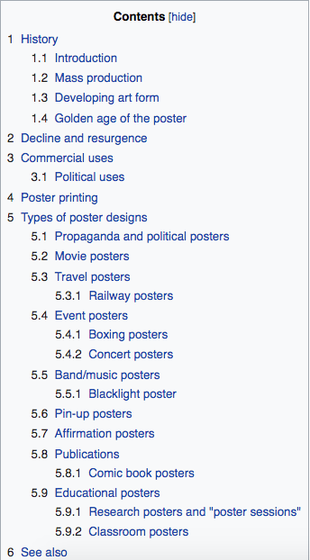 Wikipedia contents screen shot