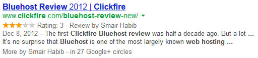 Bluehost Review Stars Structured Markup