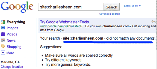 Charlie Sheen's Ideal Domain: Pages Indexed