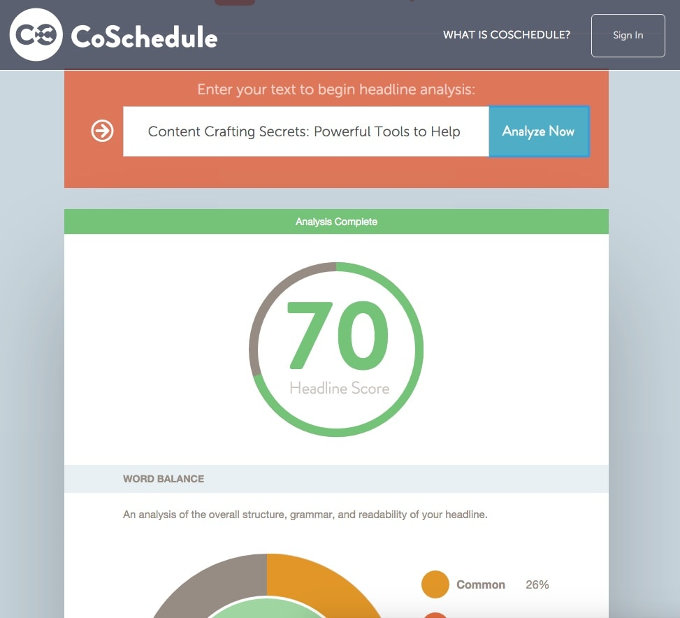 CoSchedule Headline Analyzer screenshot