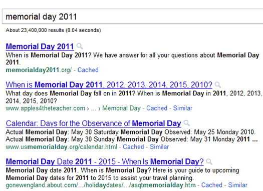 Exact Match Search for Memorial Day 2011
