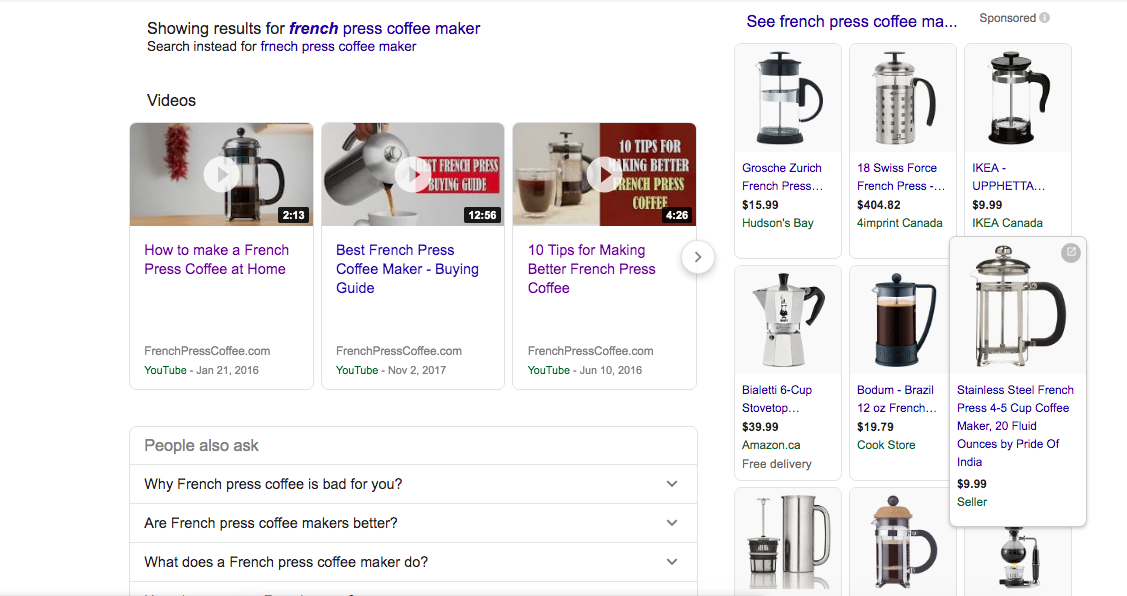 First page results for the keyword french press coffee maker