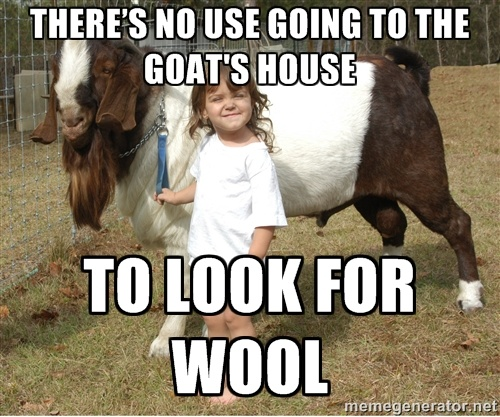 There's no use going to the goat's house to look for wool.