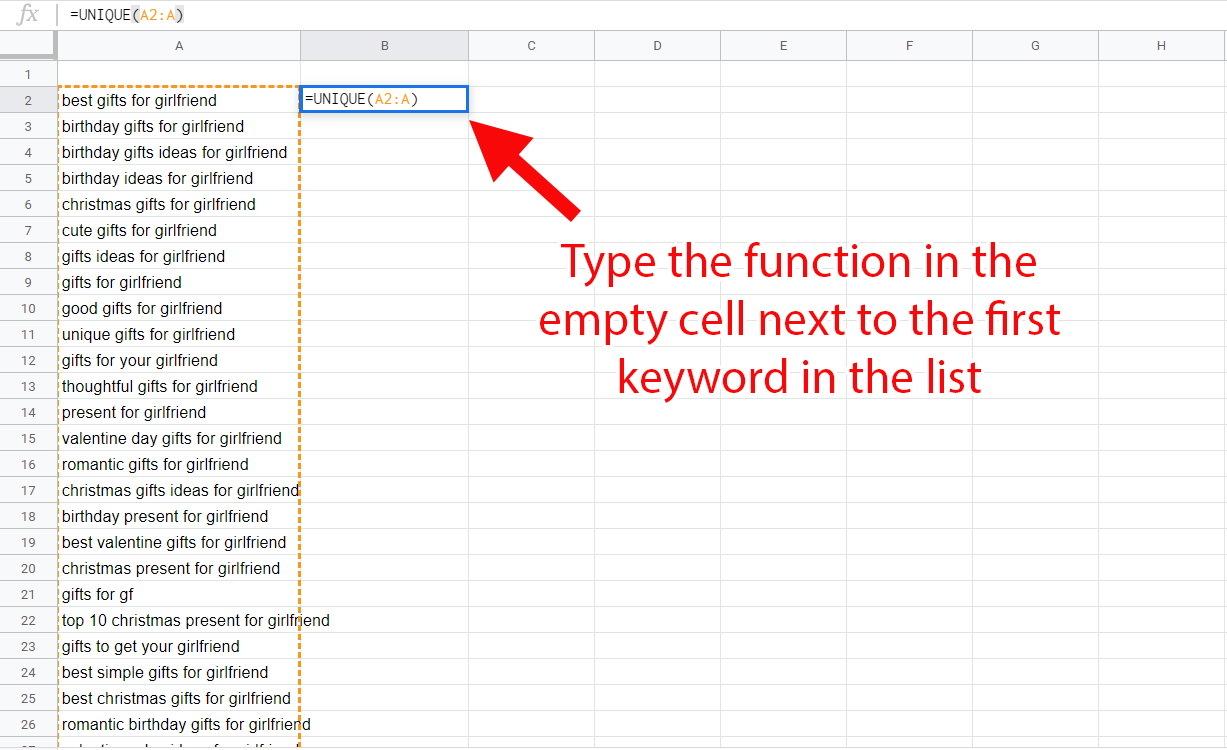 Using the UNIQUE function in Google Sheets