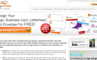LogoSnap's main page, where you'll see the word 'free' a lot.