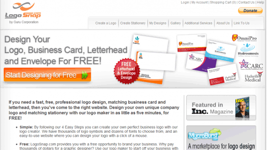 LogoSnap's main page, where you'll see the word'free' a lot.