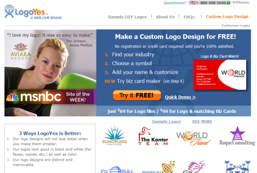 LogoYes is another logo service calling itself free.