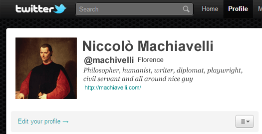 Machiavelli's Twitter Account