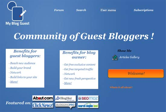MyBlogGuest.com Screen Capture