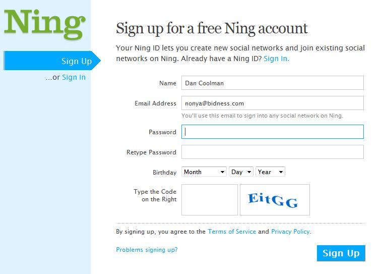 Ning Signup Screen