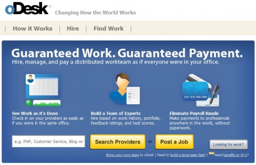 The front page at oDesk. Free profile? Count us in!