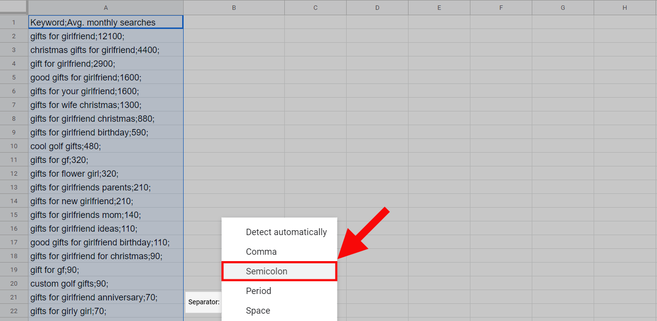 Text-to-column in Google Sheets