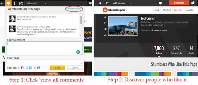 Screen cap of the StumbleUpon StumbleBar in Action