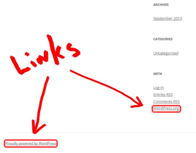 Links in Default WordPress Installation (Screen Shot)